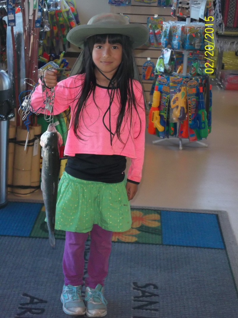 Amira Almashafi, from San Pablo caught 1 Trout the largest weighing 3.5 lbs using Powerbait in Graveyard Cove on 2-20-15.