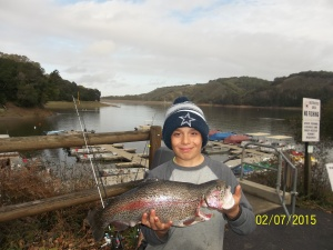 Frankie Quinci, from Novato caught 1 Trout the largest weighing 5.5 lbs on 2-7-15.